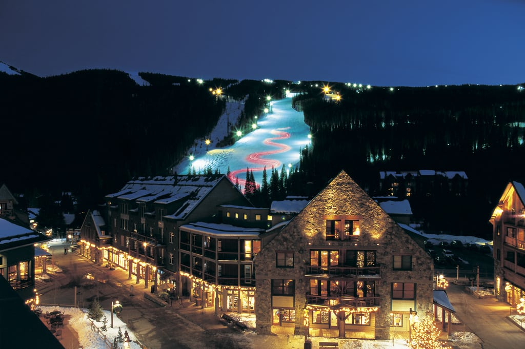 A Night view of the torch light parade at Keystone Resort.