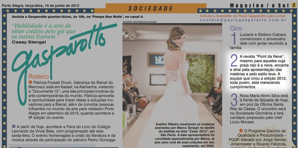 Coluna do Gasparotto no Jornal O Sul – 20 de junho de 2012