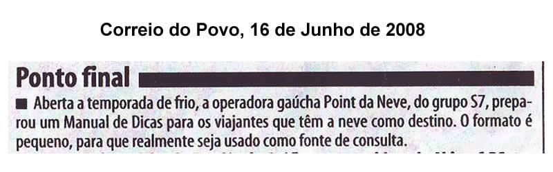 Nota do jornal Correio do Povo – Coluna Eduardo Conil – 16 de junho de 2008