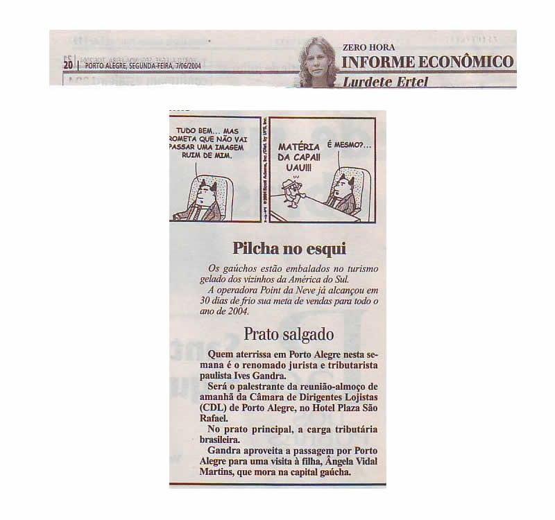 Nota jornal Zero Hora – coluna Fernanda Zaffari – 4 de setembro de 2004