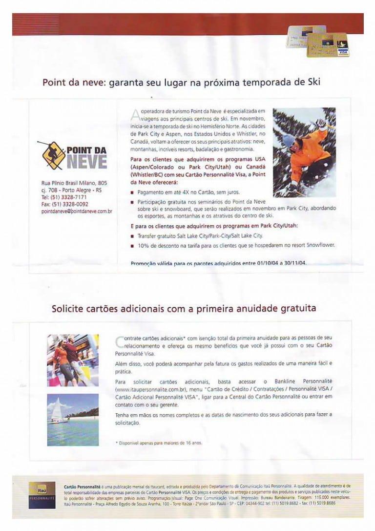 Promoção cartão Itaú-Visa Personnalité – outubro de 2004
