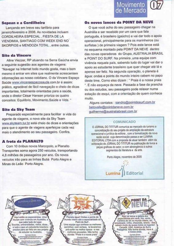 Matéria no Jornal do Tititur – outubro de 2005