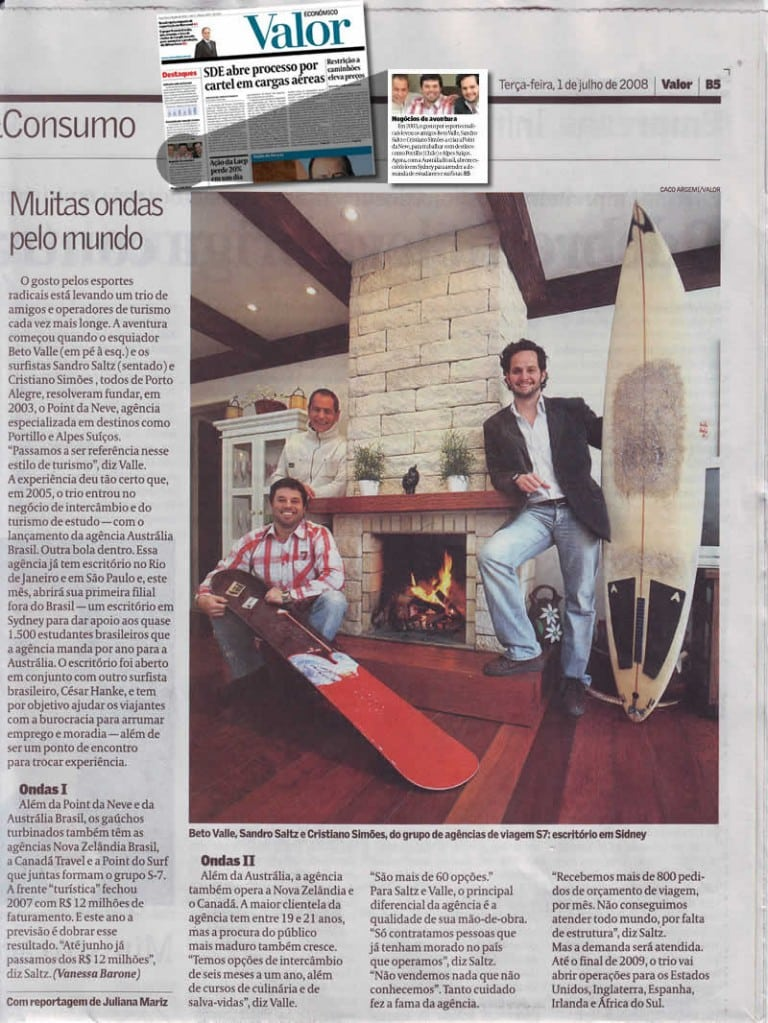 Reportagem de capa do jornal Valor Econômico – 1 de julho de 2008