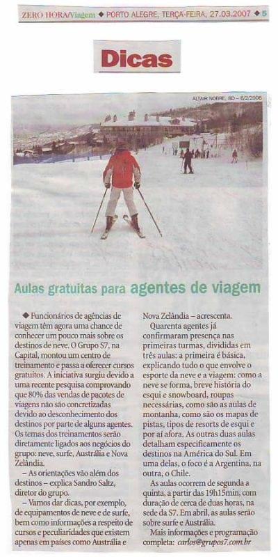 Matéria jornal Zero Hora – Caderno Viagem – 27 de março de 2007