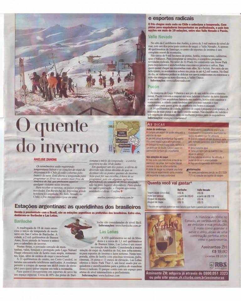 Jornal Zero Hora – Caderno Viagem – maio de 2005